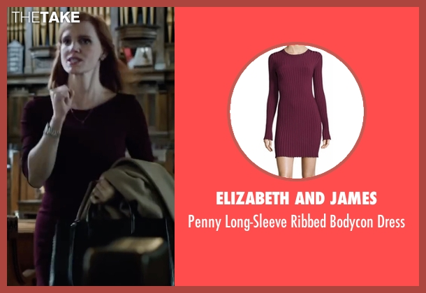 Elizabeth and James red dress from Miss Sloane seen with Jessica Chastain (Elizabeth Sloane)