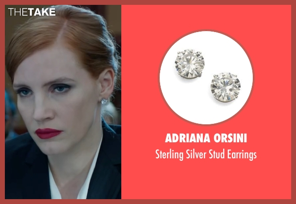 Adriana Orsini silver earrings from Miss Sloane seen with Jessica Chastain (Elizabeth Sloane)