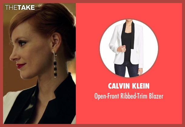 Calvin Klein white blazer from Miss Sloane seen with Jessica Chastain (Elizabeth Sloane)