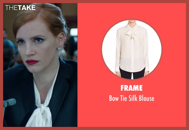 Frame white blouse from Miss Sloane seen with Jessica Chastain (Elizabeth Sloane)
