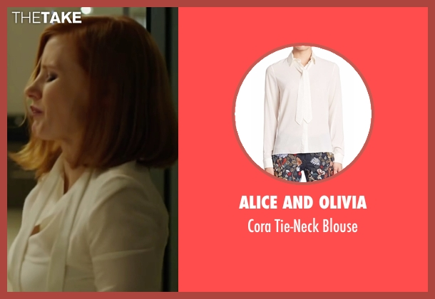 Alice and Olivia white blouse from Miss Sloane seen with Jessica Chastain (Elizabeth Sloane)