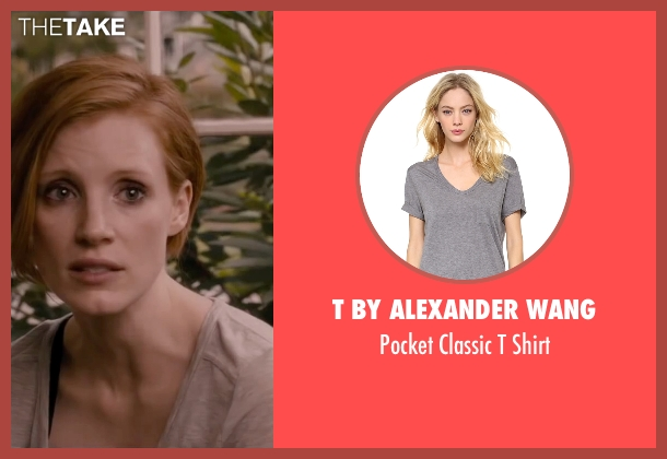 T by Alexander Wang gray shirt from The Disappearance of Eleanor Rigby seen with Jessica Chastain (Eleanor Rigby)