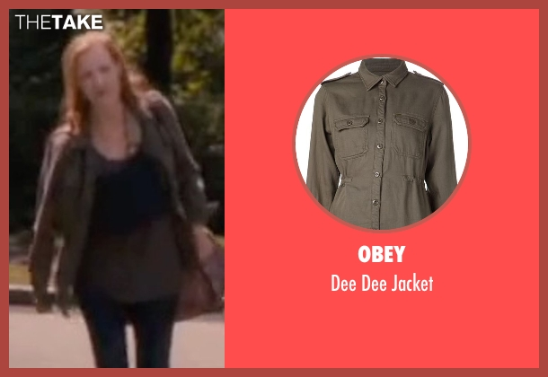 Obey green jacket from The Disappearance of Eleanor Rigby seen with Jessica Chastain (Eleanor Rigby)