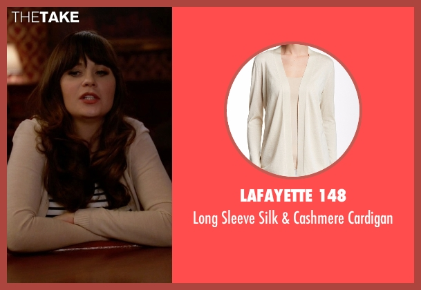 Lafayette 148 beige cardigan from New Girl seen with Jessica Day (Zooey Deschanel)