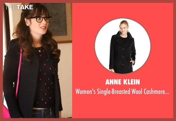 Anne Klein black coat from New Girl seen with Jessica Day (Zooey Deschanel)