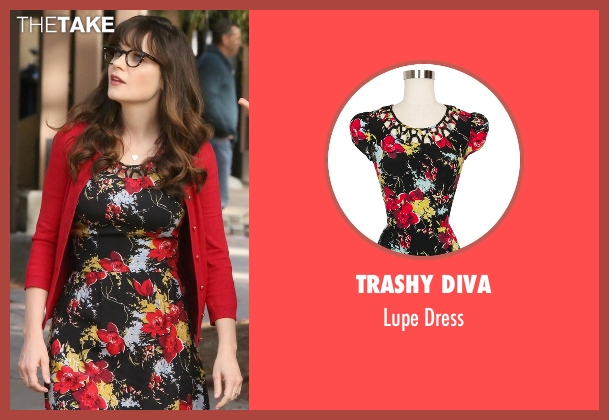 Trashy Diva black dress from New Girl seen with Jessica Day (Zooey Deschanel)