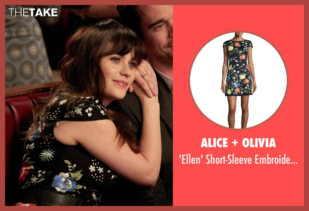 Alice + Olivia black dress from New Girl seen with Jessica Day (Zooey Deschanel)