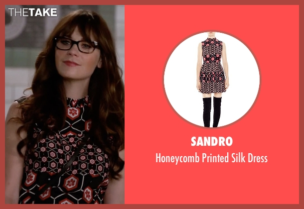 Sandro black dress from New Girl seen with Jessica Day (Zooey Deschanel)