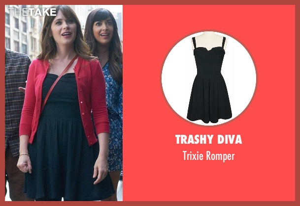 Trashy Diva black romper from New Girl seen with Jessica Day (Zooey Deschanel)