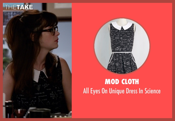 Mod Cloth black science from New Girl seen with Jessica Day (Zooey Deschanel)