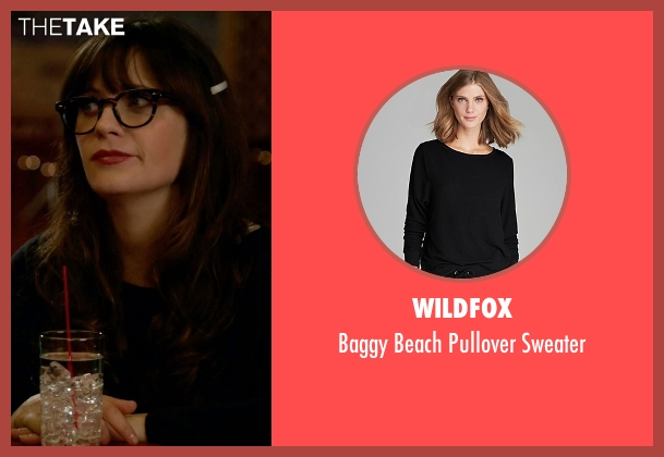 Wildfox black sweater from New Girl seen with Jessica Day (Zooey Deschanel)