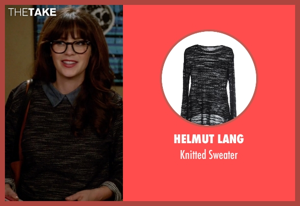 Helmut Lang black sweater from New Girl seen with Jessica Day (Zooey Deschanel)