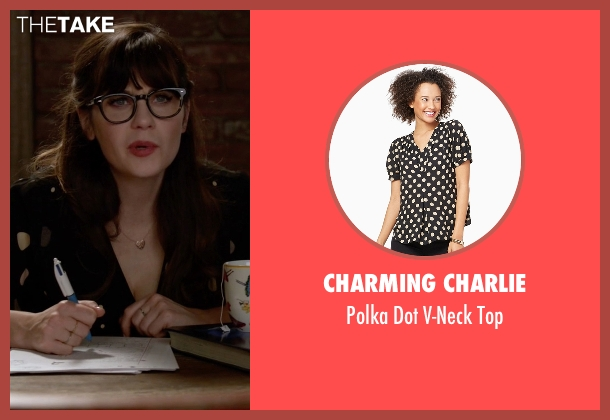 Charming Charlie black top from New Girl seen with Jessica Day (Zooey Deschanel)