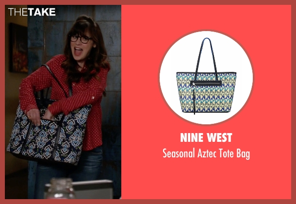 Nine West blue bag from New Girl seen with Jessica Day (Zooey Deschanel)