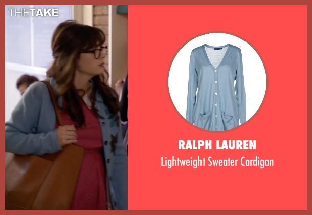 Ralph Lauren blue cardigan from New Girl seen with Jessica Day (Zooey Deschanel)