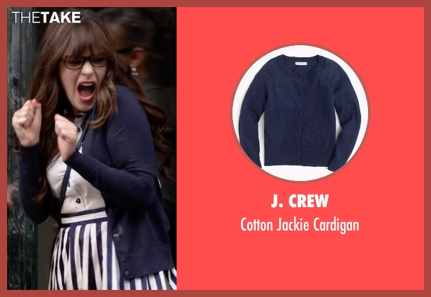 J. Crew blue cardigan from New Girl seen with Jessica Day (Zooey Deschanel)