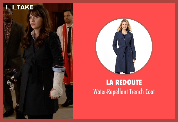 La Redoute blue coat from New Girl seen with Jessica Day (Zooey Deschanel)