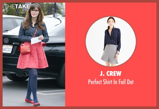 J. Crew blue dot from New Girl seen with Jessica Day (Zooey Deschanel)