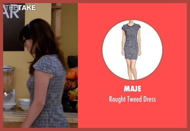 Maje blue dress from New Girl seen with Jessica Day (Zooey Deschanel)