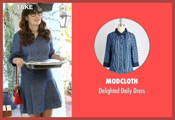 ModCloth blue dress from New Girl seen with Jessica Day (Zooey Deschanel)