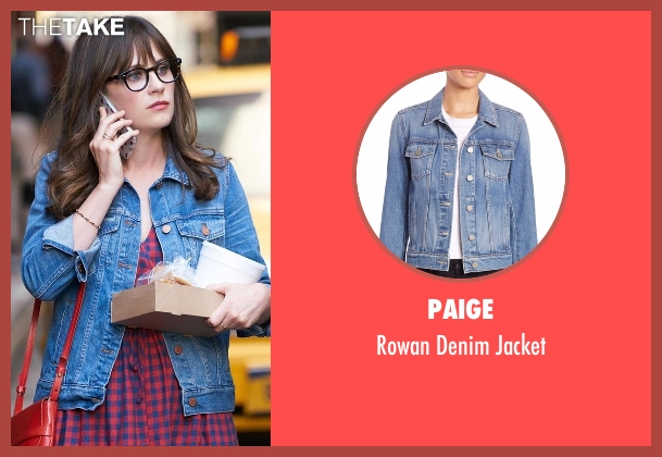 Paige blue jacket from New Girl seen with Jessica Day (Zooey Deschanel)