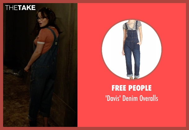 Free People blue overalls from New Girl seen with Jessica Day (Zooey Deschanel)