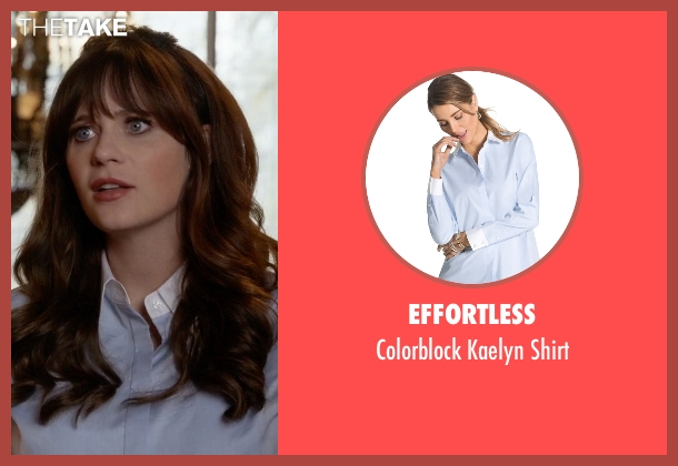 Effortless blue shirt from New Girl seen with Jessica Day (Zooey Deschanel)