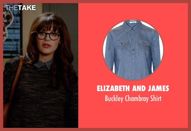 Elizabeth And James blue shirt from New Girl seen with Jessica Day (Zooey Deschanel)