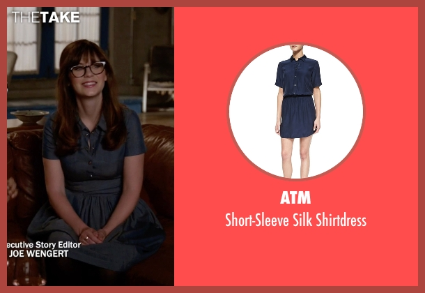 ATM blue shirtdress from New Girl seen with Jessica Day (Zooey Deschanel)