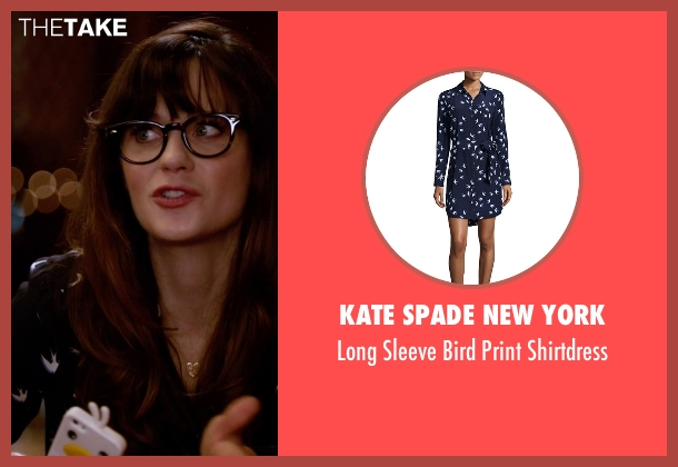Kate Spade New York blue shirtdress from New Girl seen with Jessica Day (Zooey Deschanel)