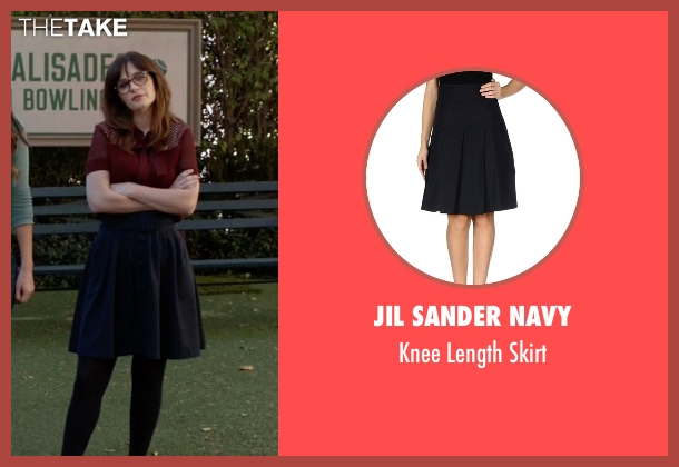 Jil Sander Navy blue skirt from New Girl seen with Jessica Day (Zooey Deschanel)