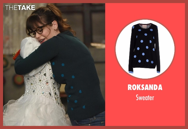 Roksanda blue sweater from New Girl seen with Jessica Day (Zooey Deschanel)