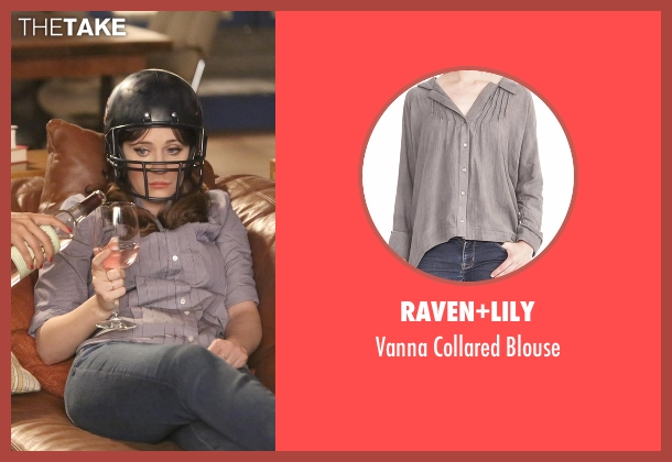 Raven+Lily gray blouse from New Girl seen with Jessica Day (Zooey Deschanel)