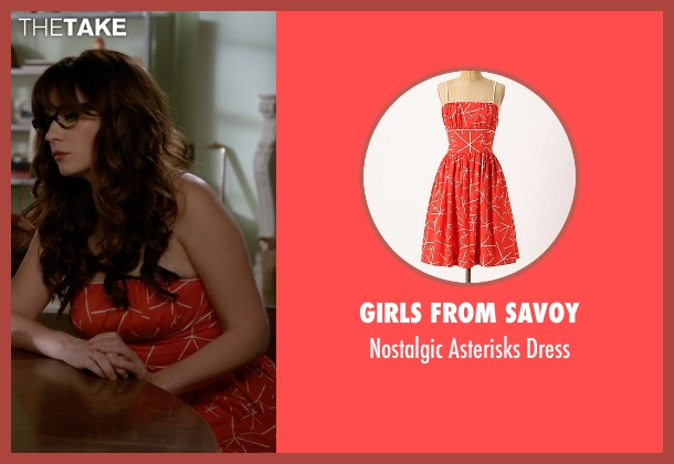 Girls From Savoy orange dress from New Girl seen with Jessica Day (Zooey Deschanel)