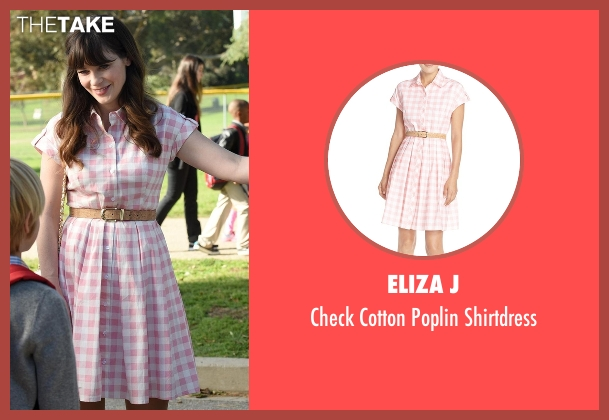 Eliza J pink shirtdress from New Girl seen with Jessica Day (Zooey Deschanel)