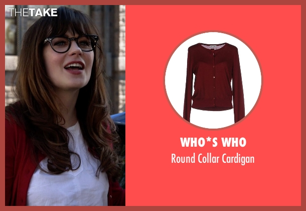 Who*s Who red cardigan from New Girl seen with Jessica Day (Zooey Deschanel)