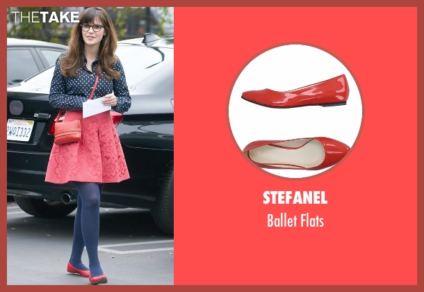 Stefanel red flats from New Girl seen with Jessica Day (Zooey Deschanel)