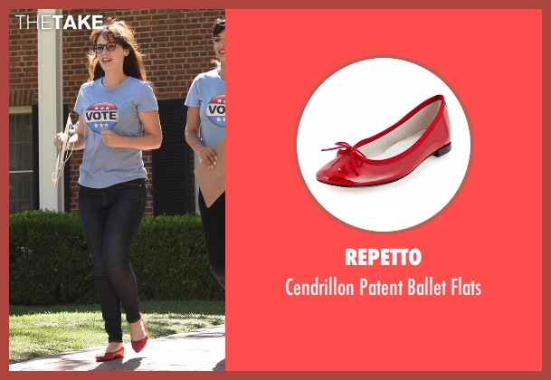 Repetto red flats from New Girl seen with Jessica Day (Zooey Deschanel)