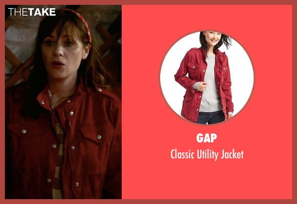 Gap red jacket from New Girl seen with Jessica Day (Zooey Deschanel)