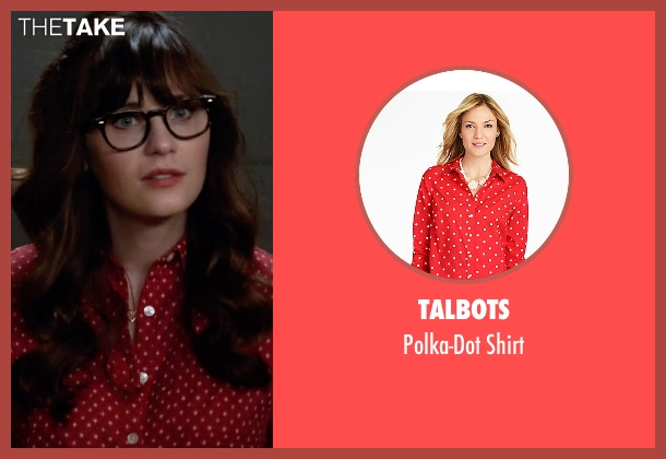 Talbots red shirt from New Girl seen with Jessica Day (Zooey Deschanel)