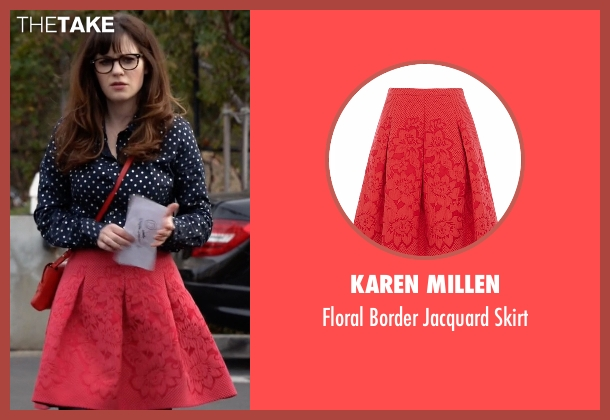 Karen Millen red skirt from New Girl seen with Jessica Day (Zooey Deschanel)