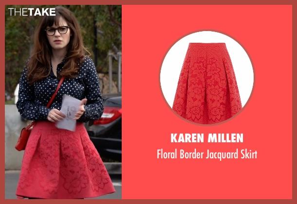 Karen Millen red skirt from New Girl seen with Jessica Day (Zooey Deschanel)