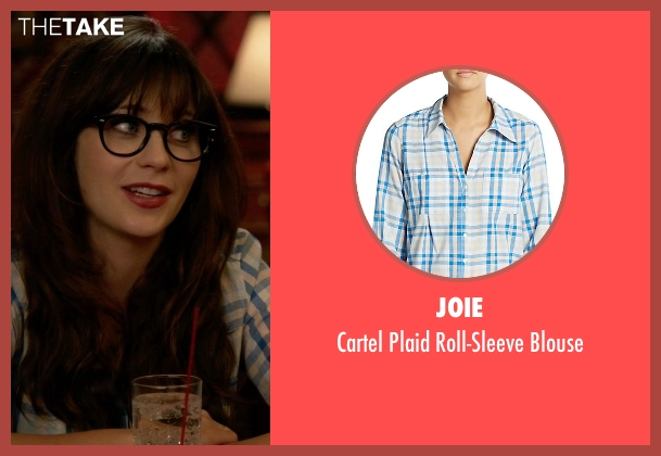 Joie white blouse from New Girl seen with Jessica Day (Zooey Deschanel)