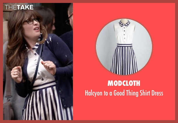 Modcloth white dress from New Girl seen with Jessica Day (Zooey Deschanel)
