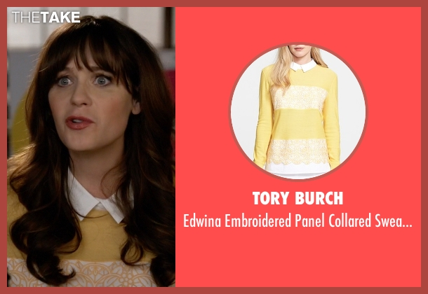 Tory Burch yellow sweater from New Girl seen with Jessica Day (Zooey Deschanel)