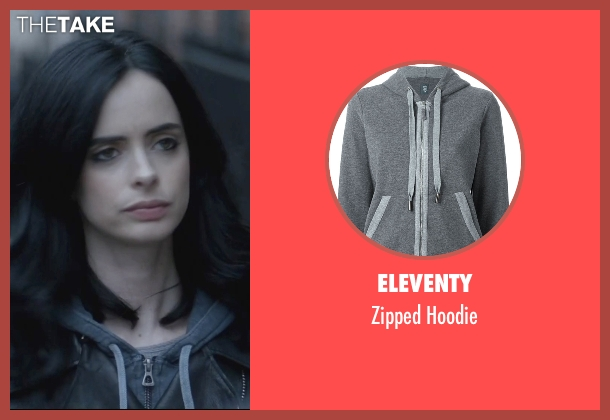 Eleventy gray hoodie from Jessica Jones seen with Jessica Jones (Krysten Ritter)
