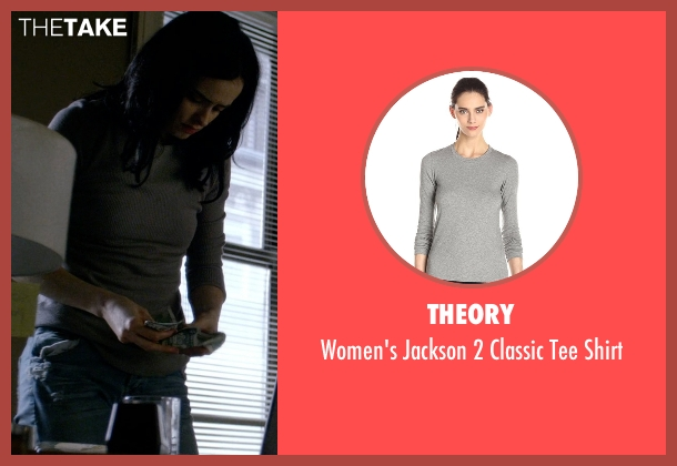 Theory gray shirt from Jessica Jones seen with Jessica Jones (Krysten Ritter)