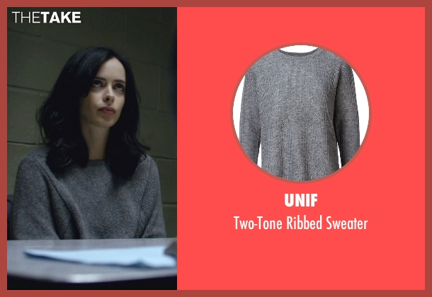 Unif gray sweater from Jessica Jones seen with Jessica Jones (Krysten Ritter)