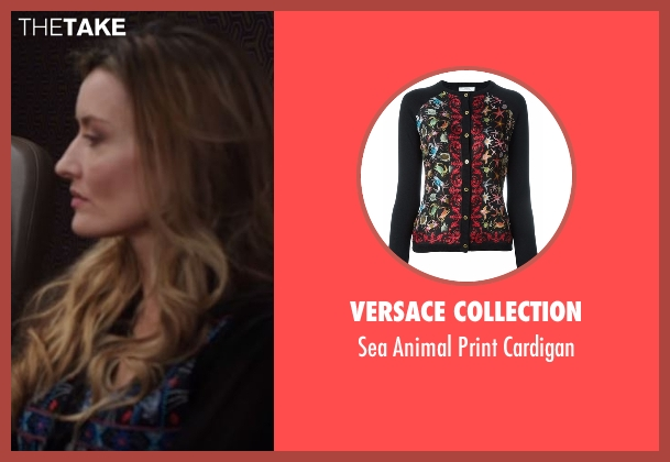 Versace Collection black cardigan from Designated Survivor seen with Jessica Kirkman (Natascha McElhone)