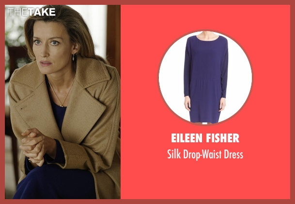 Eileen Fisher blue dress from Designated Survivor seen with Jessica Kirkman (Natascha McElhone)